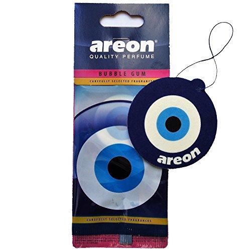 AREON Auto Lufterfrischer Bubble Gum Blau Auge Duft Autoduft Kaugummi Hängend Aufhängen Anhänger Spiegel Nazar Amulett Pappe 2D (Bubblegum Blue Eye Pack x 1) -