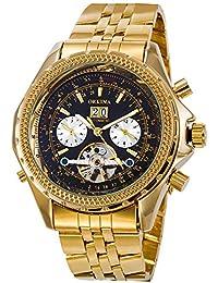 GuTe Lujo hombres reloj de pulsera automático mecánico de Gold-tone Wind Esfera de color negro luminoso