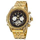 Gute Luxus Herren Gold Analog Mechanische Armbanduhr Automatische Edelstahl Datum