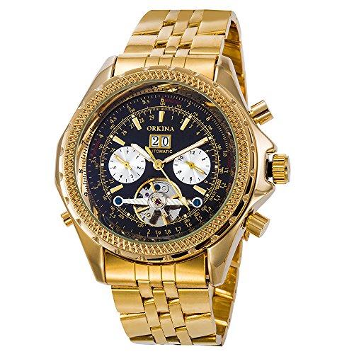 Gute Luxus Herren Gold Analog Mechanische Armbanduhr Automatische Edelstahl Datum Herren-luxus-uhren Gold