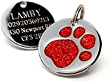 Personalised Engraved 25mm Glitter Red Paw Print Dog Pet ID Tag Disc