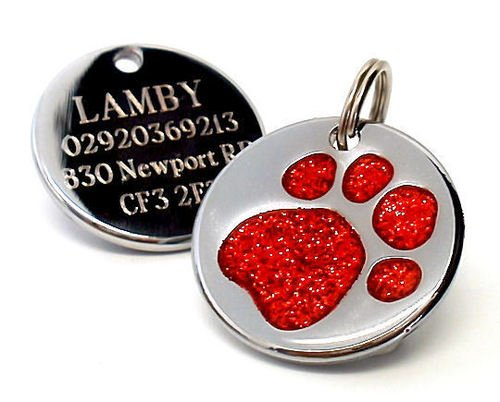 personalised-engraved-25mm-glitter-red-paw-print-dog-pet-id-tag-disc