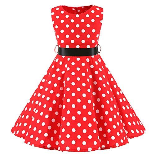 SXSHUN Mädchen Retro Vintage Rockabilly Kleid Partykleider Cocktailkleider Im 50er-Jahre-Stil, Rot + Weiß Punkt, 116 (Etikettengröße:120)
