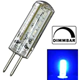 Dimmbare G4 LED mit 1,5 Watt DIMMBAR und 24 SMDs BLAU - Blaulicht 12V DC für Dimmer Halogenförmig Stiftsockel 330° Leuchtmittel Lampensockel Spot Halogenersatz Lampe