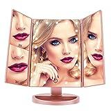 Espejo de Maquillaje, FASCINATE (Oro rosa) espejo aumento 21 LEDs Carga con USB o Batería, Espejo Maquillaje con Luz para Tríptica Aumentos 3x, 2x,1x Lupa Rotación de 180°