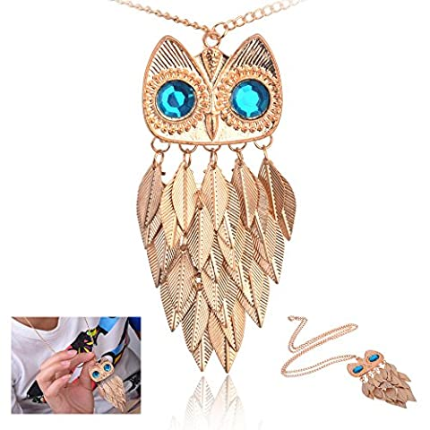 Buy any 2 & get 1 FREE! Gold Owl Feather / Leaf Necklace Unique Fashion Jewellery Multi Leaf Pendant Necklace Diamond Jewellery Vintage Hot Fashion Trend Ladies Jewelry (Purple Crystal ) …Buy any 2 & get 1 FREE! Pendant Necklace Diamond Jewellery Vintage Hot Fashion Trend Ladies Jewelry (Gold Owl Leaf Necklace)