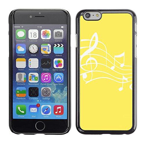 Graphic4You Musik Noten Muster Design Harte Hülle Case Tasche Schutzhülle für Apple iPhone 6 / 6S (Hellbraun) Gelb