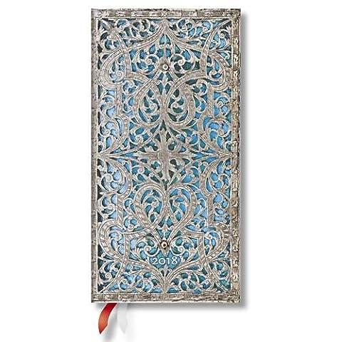 Paperblanks - Silberfiligran Kollektion Maya - Kalender 2018 Schlank Wochenüberblick Horizontal - deutschsprachige Ausgabe