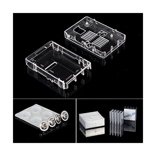 51pfbmjsnxL. SS600  - Aukru NUEVO 3-EN-1 Kit de Raspberry Pi 2 Modelo B/B + transparente Caja + 5v 2000mA alimentación + 3 conjunto del disipador de calor