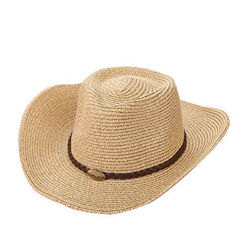 Gysad Estilo Vaquero Occidental Cowboy Hat Protector Solar Transpirable Sombrero Vaquero Unisex Vintage Gorras Size 56-58CM (Beige)