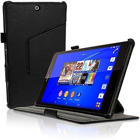 igadgitz Premium Exécutif Noir PU Cuir Etui Housse Case Cover pour Sony Xperia Z3 Tablet Compact SGP611 avec Support Multi-Angles + Mise en Veille / Réveil + Courroie De Main + Film de Protection