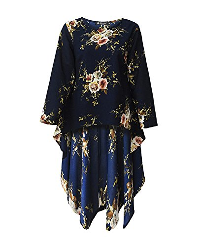 GladiolusA Damen Langarm Blusenkleid Lang Sommerkleider Hemdblusenkleid Blumendruckkleid Hemdkleid...
