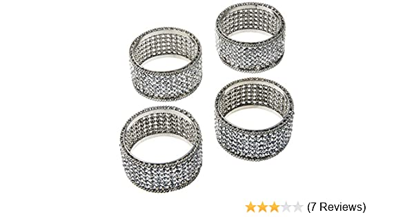 Silver Elegance 72848 Brilliant Set of 4 Napkin Rings with Crystals