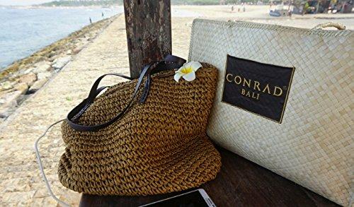 tonwhar Sommer Mode Stroh Tasche Beach Lady Handtasche Kaffee