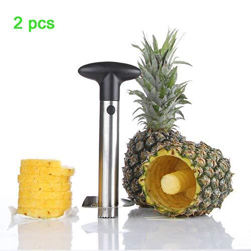 ZLJ Obstschneider Set, Edelstahl Ananas Entkerner Schäler Stiel Entferner Klingen Für Gewürfelte Fruchtringe Alle In Einem Ananas Werkzeug Schäler Slicer (2 Stück) -