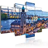 murando - Bilder 200x100 cm Vlies Leinwandbild 5 tlg Kunstdruck modern Wandbilder XXL Wanddekoration Design Wand Bild - Hamburg 030221-1