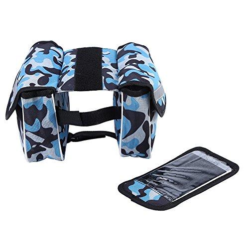 Fahrrad Rahmentasche Fahrradtasche Handyhalter mit 2 Fäche Fahrrad Oberrohrtasche mit 2 Beutel Camouflage Blue