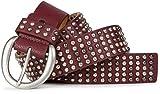 styleBREAKER Nieten Gürtel im Vintage Style mit echtem Leder und mehrfarbigen Kugelnieten, kürzbar 03010048, Farbe:Dunkelrot;Größe:85cm