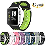 Chok Idea Band Compatible with Apple Watch Cinturino 42mm 44mm,Sportivo in Silicone Nike+ Style Traspirante Cinturino Replacement for iWatch Apple Watch Series 4 3/2/1,Black-Green