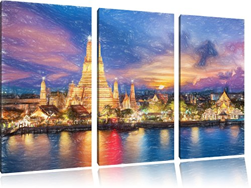 wat-arun-temple-night-view-bangkok-thailande-effet-art-crayon-3-pieces-image-toile-120x80-image-sur-