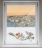 INDIGOS UG Sichtschutzfolie Glasdekorfolie Fensterfolie mit Motiv satiniert blickdicht - d156 stylischer Schmetterling Blume Pflanze Tribal - 1000 mm Länge - 500 mm Höhe Viereck