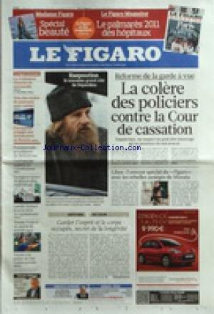 FIGARO (LE) [No 20747] du 16/04/2011 - REFORME DE LA GARDE A VUE / LA COLERE DES POLICIERS CONTRE LA COUR DE CASSATION - RASPOUTINE / LE NOUVEAU ROLE DE DEPARDIEU - LIBYE / L'ENVOYE SPECIAL DU FIGARO AVEC LES REBELLES ASSIEGES DE MISRATA - LAICITE / GUEANT JOUE LA CARTE DE L'APAISEMENT - LE REGIME SYRIEN DE PLUS EN PLUS CHAHUTE - PRESIDENTIELLE / LA CONFIANCE DE SARKOZY