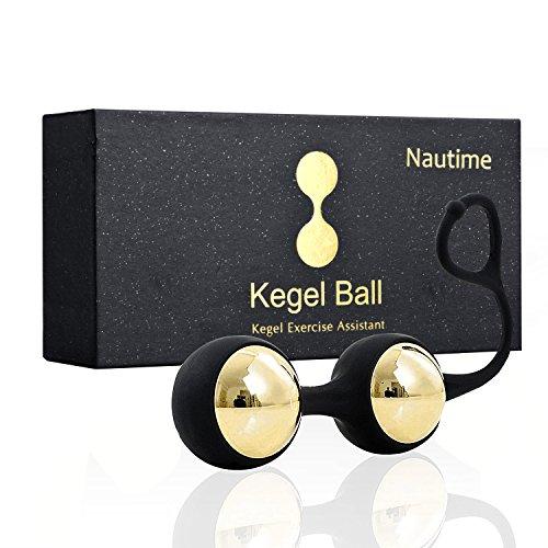 Nautime Kegel Ball Beckenbodentrainer Deluxe Metall Gold Balls Übung Bälle Silikon Beckenboden Training für Vaginalmuskulatur & Blasenkontrolle Beckenbodenübungen (Gold & Schwarz)