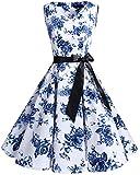 bridesmay 1950er Vintage Rockabilly V-Ausschnitt Kleid Retro Cocktailkleid Schwingen Kleid Faltenrock White Blue Flower 3XL