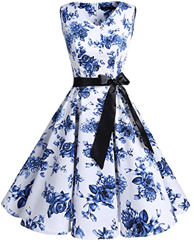 bridesmay Damen Vintage 1950er Rockabilly Ärmellos Retro Cocktailkleid Partykleid White Blue Flower...
