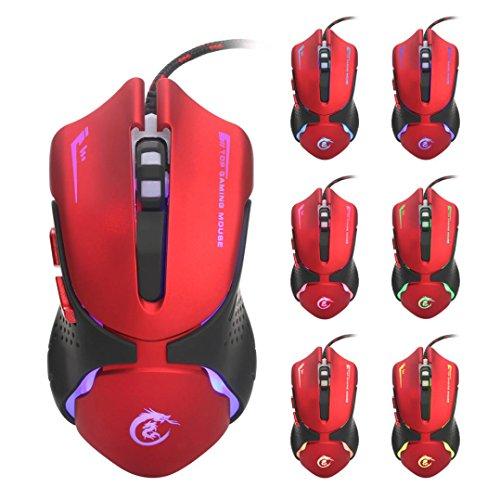 Mäuse, ourmall Hot 6D LED optische USB Wired 3200DPI Pro Gaming Maus mit 6Tasten und Lichter von 7Farben, Gaming für Computer PC Laptop (weiß) (Staubschutz 88 Schlüssel-tastatur)