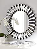 Venetian Design Mingling Slats Wall Mirror Diameter 30 Inches