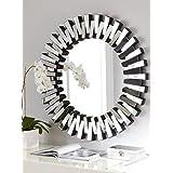 Venetian Design Mingling Slats Wall Mirror Diameter 30 Inches