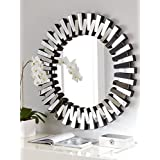 Venetian Design Mingling Slats Wall Mirror Diameter 30 Inches | Get A Rustic 2 Golden Photo Frame + Table Clock + Jewellery Box Worth Rs.7500/- Absolutely Free With This Wall Mirror