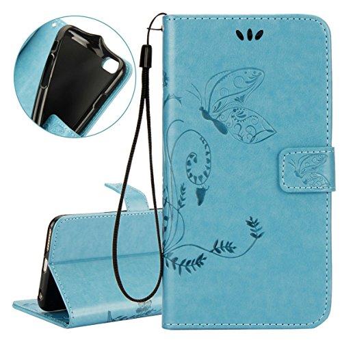 ISAKEN Custodia iPhone 6 Plus, Cover iPhone 6S Plus, Elegante borsa Custodia in Pelle Protettiva Flip Portafoglio Case Cover per Apple iPhone 6 Plus (6 5.5) / con Supporto di Stand / Carte Slot / Chi Farfalla: blu