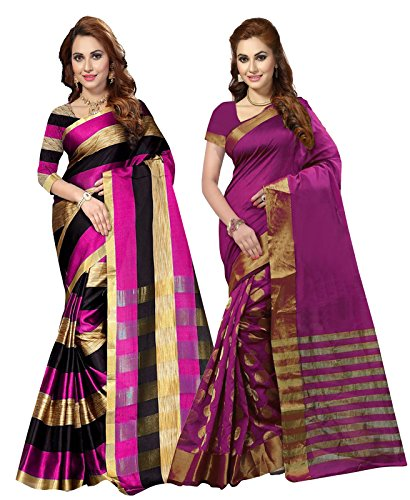 Ishin Combo of 2 Poly Cotton Woven Women's Sarees.