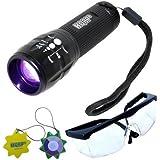 HQRP UV professionnel à zoom focus lampe torche LED 3W 390nm avec plus spécial Lunettes de sécurité UV + HQRP soleil M