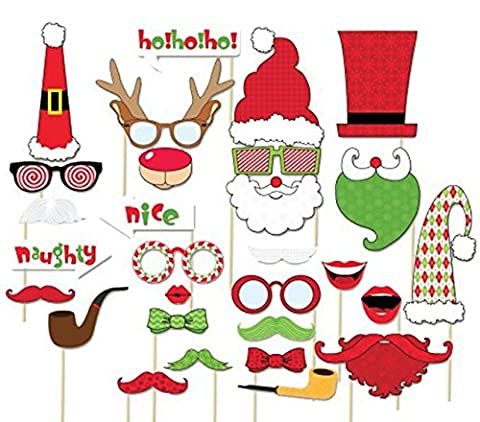 Veewon New Year Eve Photo Props Christmas Photo Booth Photography Xmas Party Decoration Favor, Set (Natale Puntelli Photo)