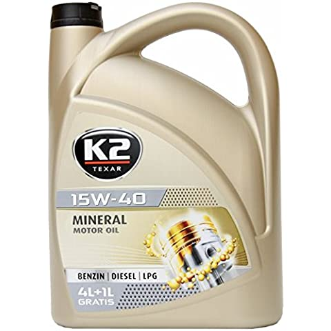 K2minerali, olio per motore, 15W -40, Nanotecnologia, adatto per benzina, diesel e (per motori a gas liquido GPL), conforme alle norme: ACEA A3/B3/B4, api: SL/CF, 5L
