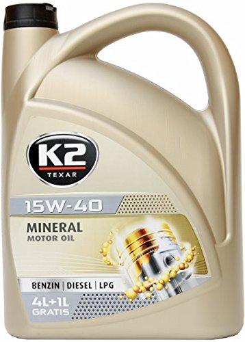 K2 Motoröl,15W-40, mineralisch, Nanotechnologie, geeignet für Benzin- , Diesel- und...