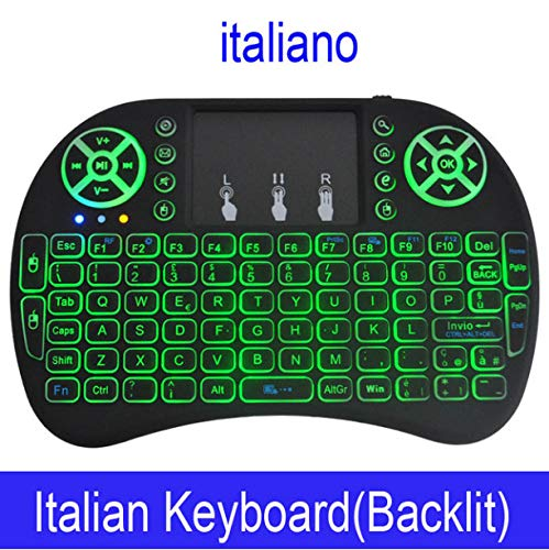 Keyboard Color Backlit Mini Wireless English Russian Air Mouse with Touchpad Remote Control Tv Box F -