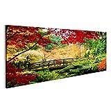 islandburner Bild Bilder auf Leinwand Eine Brücke in Einem Asiatischen Garten während der Herbstsaison Wandbild, Poster, Leinwandbild MOR