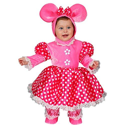 Vestito costume maschera di carnevale neonata - topolina minnie super star - taglia 10/12 mesi - 58 cm