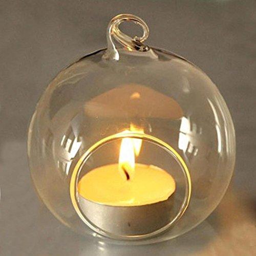 huichang 5 Stück Hängend Kristall Glas Kerzenständer Teelichthalter Haus Hängende Glasball Romantische Kerzenständer Hochzeit/Geburtstag/Fest Deko (6 cm)