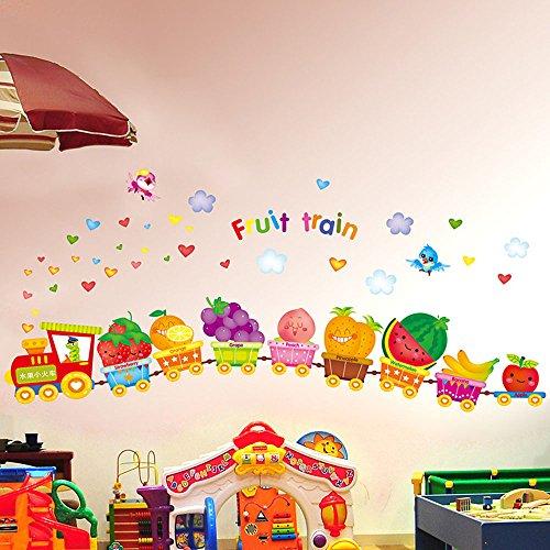 Karikatur-Frucht-lustiger Zug-Wand-Aufkleber-Abziehbild Netter Apfel-Erdbeere-Wassermelone-Zitrone-Traube-Vinyl Kunst DIY für Haus Kindgarten-Baumschule scherzt Baby-Spielzimmer-Dekoration (Früchte-wand-aufkleber)