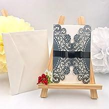 JZK® 50 x 4 en 1 gris invitaciones blancas+ tarjetas+Sobres+cintas para fiesta de compromiso de la boda celebracion (gris)