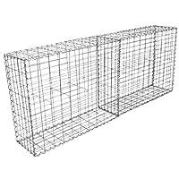 MonsterShop Gabion Baskets Galvanised Steel Cages Stone Mesh Wire Outdoor Basket Spiral Retaining Wall Planter Garden / 100 x 95 x 30cm / 4 Pack