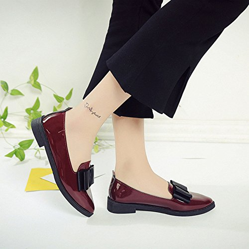 Mode Femmes bout pointu chaussures Plat Oxford chaussures Vin rouge
