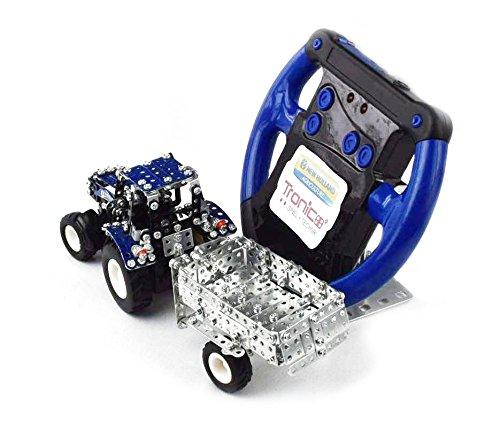 RC Auto kaufen Traktor Bild 2: Tronico 09561 - Metallbaukasten Traktor New Holland T5-115 mit Kippanhänger und Fernsteuerung, Maßstab 1:64, Micro Serie, blau, 454 Teile*