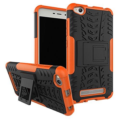 Ququcheng Kompatibel mit Xiaomi Redmi 4A Hülle,PC/TPU Doppelschicht Schutzhülle+Panzerglas Schutzfolie Hohe Qualität Case Hülle Cover mit Ständer Handyhülle Für Xiaomi Redmi 4A-Orange