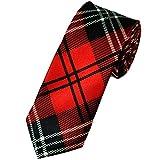 Retro Styler Neuheit schmaler roter Schottenkaro-Krawatte